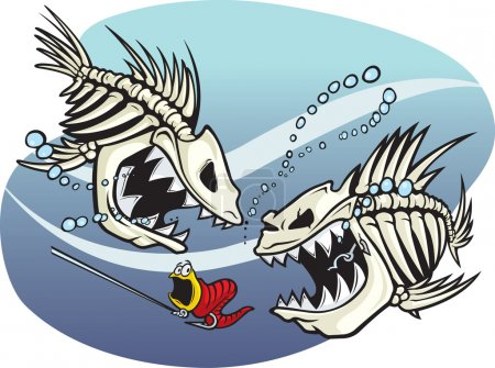 A pair of wicked cartoon skeleton fish. Vector and...