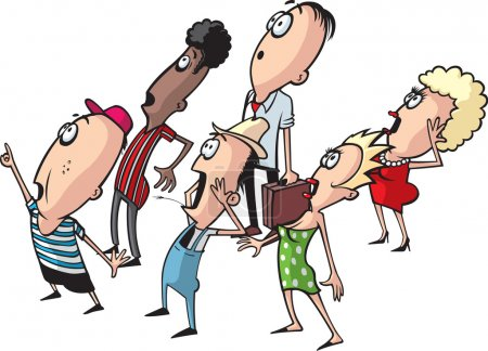 Illustration for A layered vector cartoon of a small crowd of people looking into the sky. High resolution jpeg also available. - Royalty Free Image