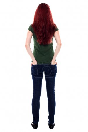 Back of a red haired young student