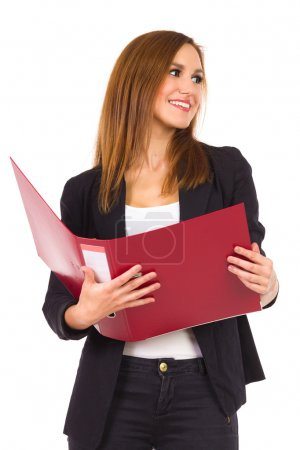 Female Student with ring binder.