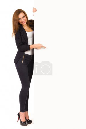 Photo for Elegance woman pointing at blank card. Full length studio shot isolated on white. - Royalty Free Image