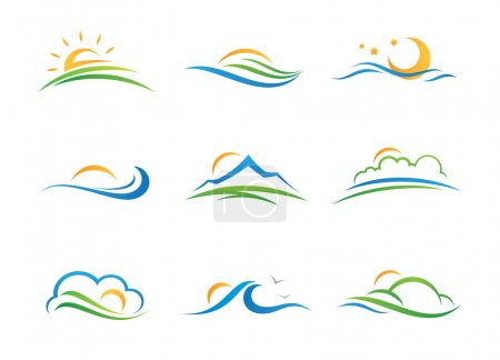 Landscape nature experience and vacation travel agency illustration logotype