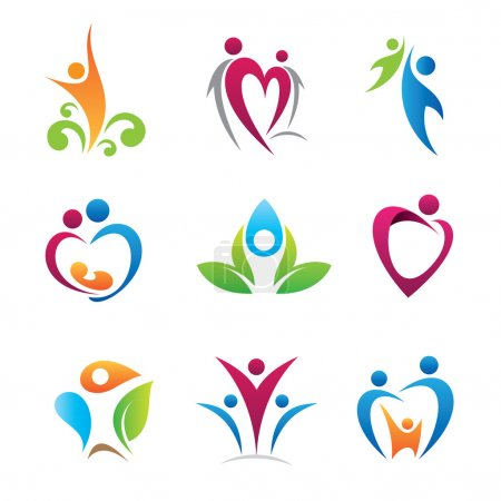 Colorful happy people and love for nature used for decoration and logo template by business company and corporation, social community bound circle