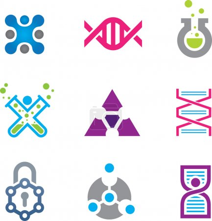New world of cutting edge technology in science logo template