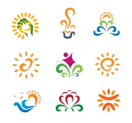 Illustration pour Moderne nature belles rétro symboles de logo d'entreprise symbole - image libre de droit