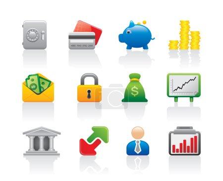 Illustration pour Les gens d'affaires travaillent et économisent des finances bancaires et de l'argent logo vectoriel modèle - image libre de droit