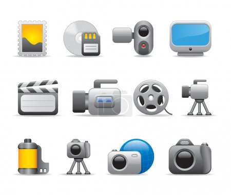 3D Photo and video icons and movie logo template