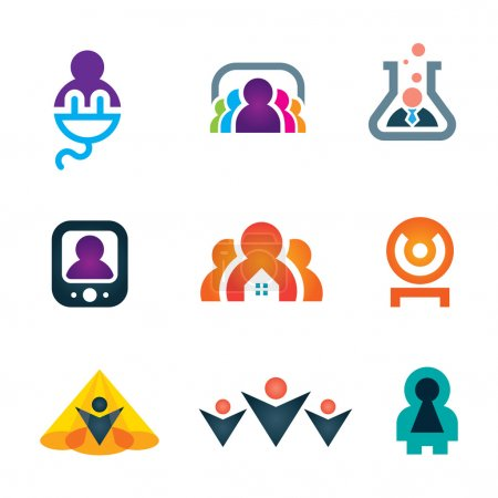 People shape with great ideas in objects and new technology icon set, People in objects