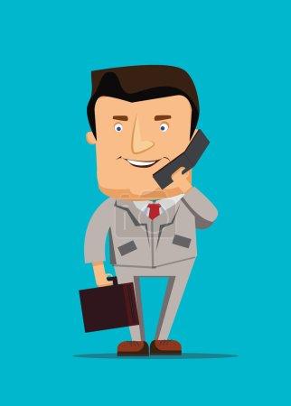 Businessman illustration talking on a phone business vector illustration