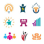 Creative thinking idea people of new age technology logotype construction and app google play development icon set