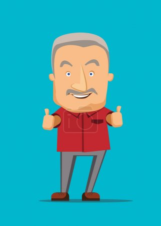 Illustration for Old man giving a thumbs up vector illustration - Royalty Free Image