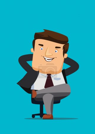 CEO sitting in a chair with big idea vector illustration