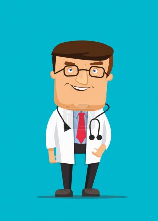Professional clean doctor illustration wearing stethoscope and helping in clinic
