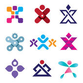 Human X shape latter creativity design icon set