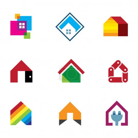 Illustration for Design safe home real estate interior construction logo icon - Royalty Free Image