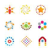 Great mind bending colorful creativity decoration interaction logo icon set