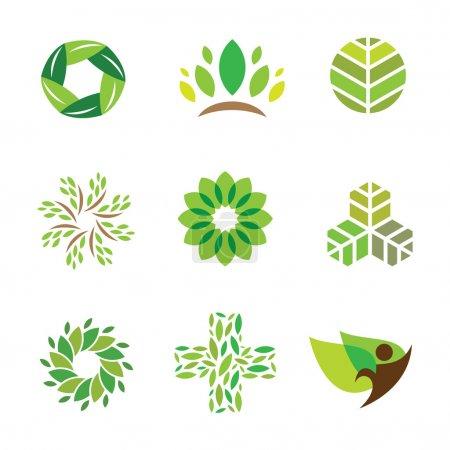Nature vert éco aide soins pour la vie saine icône logo