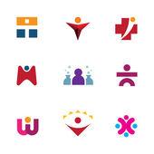 Jděte prozkoumat svět příležitostí pomoci starat o ostatní ikony logo