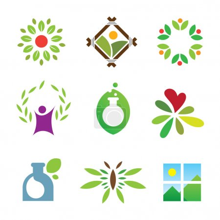 Illustration for Olympic green success nature leaf landscape healthy care logo icon - Royalty Free Image