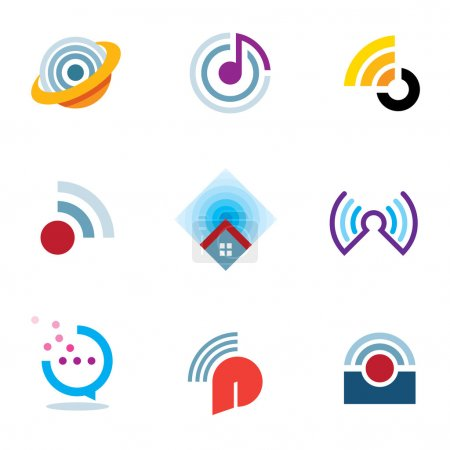 Illustration for Ether world connectivity signal location positioning waves transmitting logo icons - Royalty Free Image