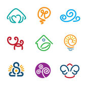 Line abstract decoration symbol human creativity idea force logo icons