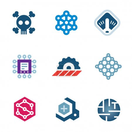 Deadly security problem computer virus system scan prototype logo icons