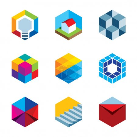 Innovation building future real estate virtual game cube logo icons