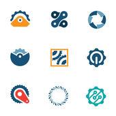 Wheel power steal machine industrial part logo icons set