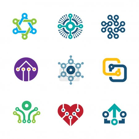 Illustration for Future innovation technology computer  integrated chip nanotechnology science logo icons - Royalty Free Image