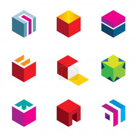 Illustration for Puzzle cube maze box arrow symbol success logo icon set - Royalty Free Image