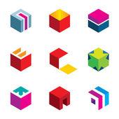 Puzzle cube maze box arrow symbol success logo icon set