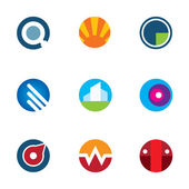 New mobile technology application circle logo set internet startup icon
