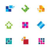 Chip pixel success technology integrate logo connection icon set creativity