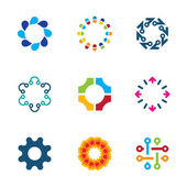 Colorful social circle partnership technology connection bond logo icon set
