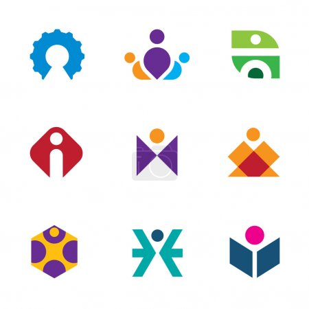 People creative tools of innovation icon set maze construction logo