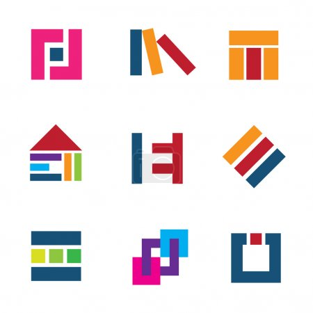 Creative building construction site architecture design logo connection icon set