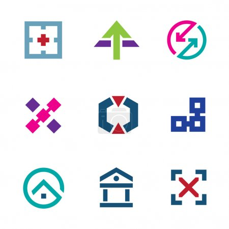Navigation positioning menu bar startup business logo flexible icon set