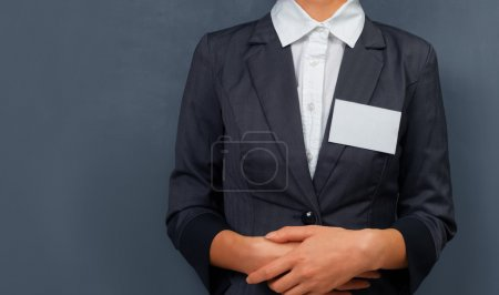 Businesswoman with a name tag
