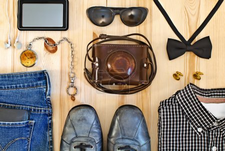 Set of men's clothing and accessories.