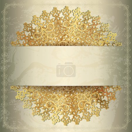 Golden background with openwork circular pattern, wedding card