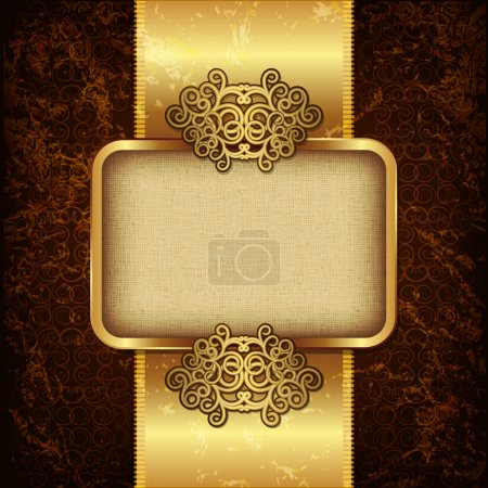 Luxury background with gold frame and satin ribbon