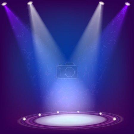 Scene illuminated by four spotlights