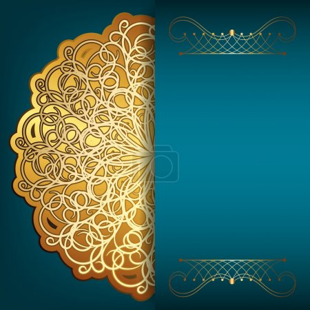 Blue card with gold pattern and place for your text. The idea fo