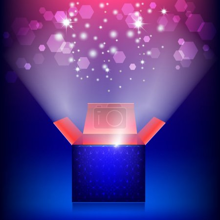Illustration for Open surprise box. Greeting card with gift box and a bright light. The Magic Box - Royalty Free Image