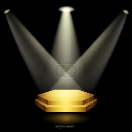 Golden podium floodlighting
