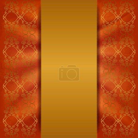 Luxurious orange background with gold ribbon