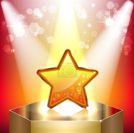 Gold star on a pedestal.