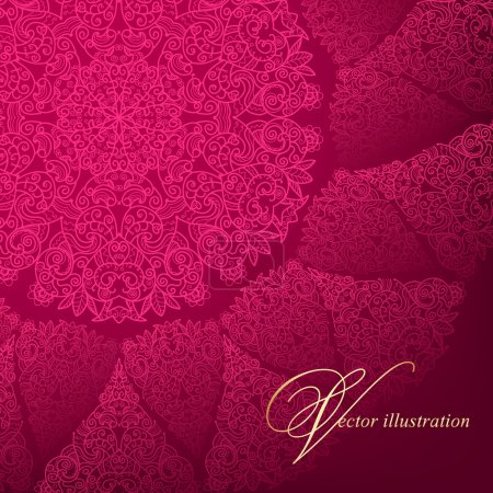 Openwork circular pattern on a burgundy background.