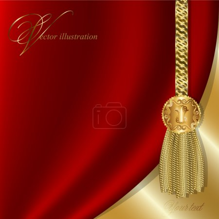 Illustration for Red curtain with gold tassels, luxurious design for invitations - Royalty Free Image
