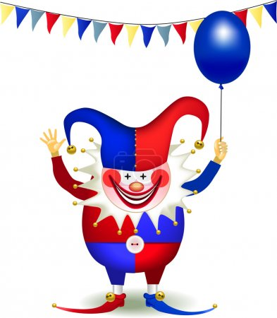 Illustration for Cheerful clown with a balloon - Royalty Free Image